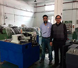 Customers from Pakistan are testing machine in our factory
